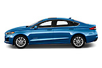 Car Driver side profile view of a 2019 Ford Fusion-Hybrid SEL 4 Door Sedan Side View