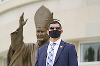 A masked United States Secret Service agent looks on as US President Donald Trump and First lady Melania Trump visit Saint John Paul II National Shrine in Washington, DC on Tuesday, June 2, 2020.                   <br /> Credit: Chris Kleponis / Pool via CNP/AdMedia