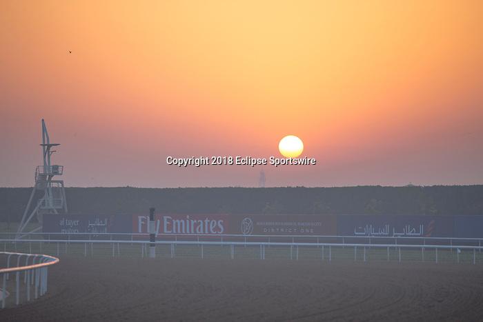 DUBAI,UNITED ARAB EMIRATES-MARCH 29: Sunrise at Meydan Racecourse on March 29,2018 in Dubai,United Arab Emirates (Photo by Kaz Ishida/Eclipse Sportswire/Getty Images)
