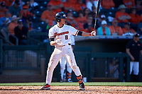 Oregon State Beavers Cesar Valero Sanchez (8) at bat during an NCAA game against the New Mexico Lobos at Surprise Stadium on February 14, 2020 in Surprise, Arizona. (Zachary Lucy / Four Seam Images)