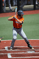 Taylor Barber (8) of the UTSA Roadrunners at bat against the Charlotte 49ers at Hayes Stadium on April 18, 2021 in Charlotte, North Carolina. (Brian Westerholt/Four Seam Images)