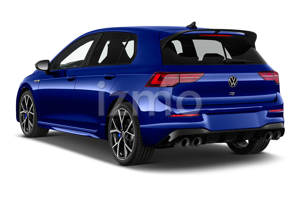 Car pictures of rear three quarter view of 2021 Volkswagen Golf R 5 Door Hatchback Angular Rear