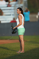 Nikki Robinson works the video camera between innings of the Southern Collegiate Baseball League game between the Carolina Venom and the Mooresville Spinners at Moor Park on June 22, 2020 in Mooresville, NC.  The Spinners defeated the Venom 7-2. (Brian Westerholt/Four Seam Images)