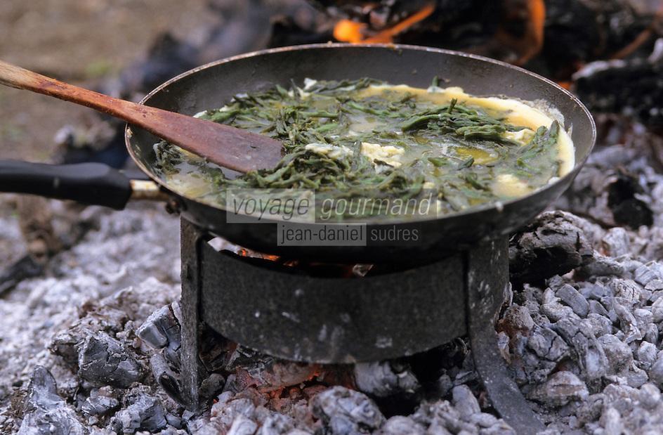 """Europe/France/Languedoc-Roussillon/66/Pyrénées-Orientales/Banyuls-sur-Mer: recettes de la Sanch, préparation de l'omelette aux asperges lors d'une """"Cargolade"""""""