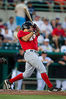 Frisco Roughriders first baseman Brett Nicholas (29) swings the bat in the Texas League baseball game against the San Antonio Missions on August 22, 2013 at the Nelson Wolff Stadium in San Antonio, Texas. Frisco defeated San Antonio 2-1. (Andrew Woolley/Four Seam Images)