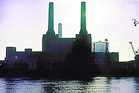 London: Battersea Power Station--frontal view. Looking directly south. Winter morning. Photo '79.