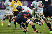 4th April 2021; Paris La Défense Arena, Nanterre, Paris, France; European Champions Cup Rugby, Racing 92 versus Edinburgh;  EDDY BEN AROUS ( 1 - Racing ) brought down by G Gilchrist ( 5 - Edinburgh )