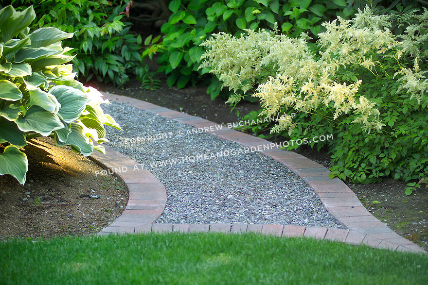 A shallow focus, close-up vignette of a curved curving brick-edged gravel path edged with a spray of white astilbe flowers and hosta leaves, and ending at the edge of a beautifully manicured lawn.
