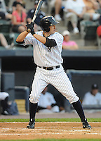 Outfielder Jordan Parraz (8) of the Scranton/Wilkes-Barre Yankees, International League affiliate of the New York Yankees, in a game against the Norfolk Tides on June 20, 2011, at PNC Park in Moosic, Pennsylvania. (Tom Priddy/Four Seam Images)