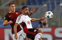 Calcio, Champions League, Gruppo E: Roma vs Bayer Leverkusen. Roma, stadio Olimpico, 4 novembre 2015.<br /> Bayer Leverkusen's Karim Bellarabi, right, is challenged by Roma's Lucas Digne during a Champions League, Group E football match between Roma and Bayer Leverkusen, at Rome's Olympic stadium, 4 November 2015.<br /> UPDATE IMAGES PRESS/Riccardo De Luca