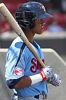 Starlin Castro #13 of the Tennessee Smokies in the on deck circle during a game against the Carolina Mudcats on April 20, 2010  in Zebulon, NC.
