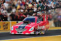 Aug. 5, 2011; Kent, WA, USA; NHRA funny car driver Cruz Pedregon during qualifying for the Northwest Nationals at Pacific Raceways. Mandatory Credit: Mark J. Rebilas-