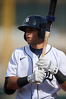 Detroit Tigers Trei Cruz (71) on deck during a Florida Instructional League game against the Pittsburgh Pirates on October 16, 2020 at Joker Marchant Stadium in Lakeland, Florida.  (Mike Janes/Four Seam Images)