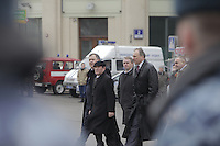 Moscow, Russia, 29/03/2010..Scenes outside Lubyanka metro station, where at least 24 people were killed in a morning rush hour suicide bombing. A second bomb exploded at Park Kultury metro station, killing at least another 14 people. Federal security officers at the scene..