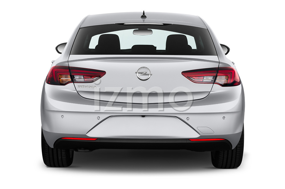 Straight rear view of 2021 Opel Insignia Ultimate 4 Door Sedan Rear View  stock images