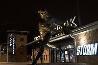 A statue of Bob Gibson sits outside the front gates of Werner Park as the Omaha Storm Chasers host the Memphis Redbirds during a Pacific Coast League game on April 26, 2019 at in Omaha, Nebraska. Memphis defeated Omaha 7-3. (Zachary Lucy/Four Seam Images)