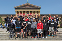 Philadelphia, PA - June 10, 2016: The U.S. Men's National team take time off from training to visit the Rocky Statue and Rocky Steps at the Philadelphia Museum of Art.