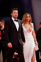 """VENICE, ITALY - SEPTEMBER 10: Ben Affleck and Jennifer Lopez attend the red carpet of the movie """"The Last Duel"""" during the 78th Venice International Film Festival on September 10, 2021 in Venice, Italy. <br /> CAP/GOL<br /> ©GOL/Capital Pictures"""