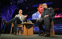 Pictured L-R: Jerry Brotton and Salman Rushdie Monday 30 May 2016<br />Re: Hay Festival, Hay on Wye, Wales, UK