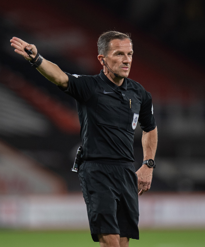 Referee Keith Stroud <br /> <br /> Photographer David Horton/CameraSport<br /> <br /> Carabao Cup Second Round Southern Section - Bournemouth v Crystal Palace - Tuesday 15th September 2020 - Vitality Stadium - Bournemouth<br />  <br /> World Copyright © 2020 CameraSport. All rights reserved. 43 Linden Ave. Countesthorpe. Leicester. England. LE8 5PG - Tel: +44 (0) 116 277 4147 - admin@camerasport.com - www.camerasport.com