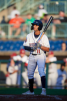Mahoning Valley Scrappers Brayan Rocchio (11) at bat during a NY-Penn League game against the State College Spikes on August 29, 2019 at Eastwood Field in Niles, Ohio.  State College defeated Mahoning Valley 8-1.  (Mike Janes/Four Seam Images)