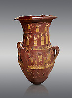 Inandik Hittite relief decorated cult libation vase with four decorative friezes featuring figures coloured in cream, red and black. The top two registers show  processional figures include musicians and acrobats processing round the vase, the third register from the top shows an altar -  mid to late 16th century BC - İnandıktepe, Turkey. Against a grey background
