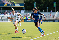 CARY, NC - SEPTEMBER 12: Debinha #10 of the NC Courage attacks the ball during a game between Portland Thorns FC and North Carolina Courage at Sahlen's Stadium at WakeMed Soccer Park on September 12, 2021 in Cary, North Carolina.