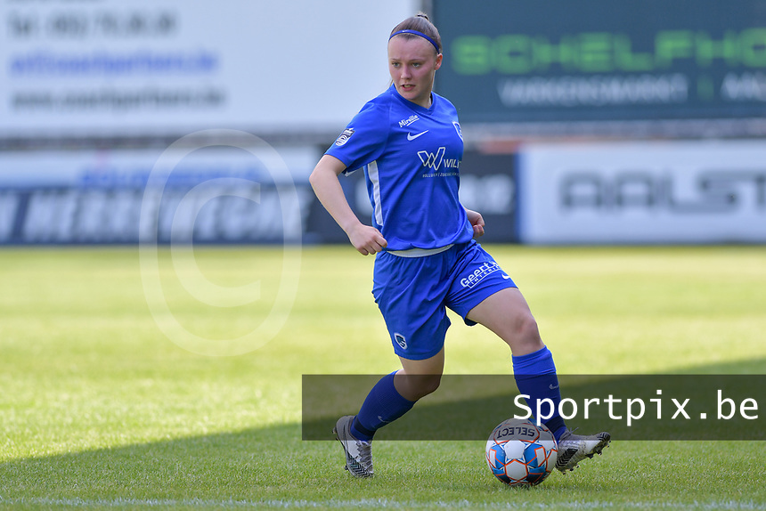 Fleur Pauwels (66) of KRC Genk pictured during a female soccer game between Eendracht Aalst and Racing Genk on the 10 th and last matchday of play off 2 of the 2020 - 2021 season of Belgian Scooore Womens Super League , Saturday 29 st of May 2021  in Aalst , Belgium . PHOTO SPORTPIX.BE | SPP | STIJN AUDOOREN