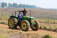 Malawi, Thyolo, Makandi Tea Estate, a fair trade tea plantation, John Deere Tractor