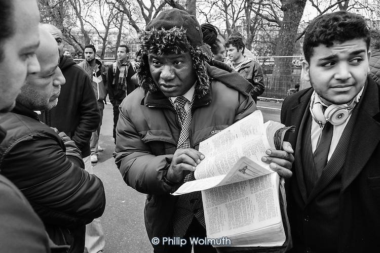 Bible scholar, Speakers' Corner, Hyde Park, London, April 2014.