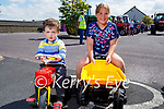 Sean Nealon and Fiadh Houlihan ready with their tractors at the Vintage Tractor Run in Ballyduff on Sunday.