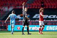 12th September 2020; Ashton Gate Stadium, Bristol, England; English Football League Championship Football, Bristol City versus Coventry City; The referee gives Gustavo Hamer of Coventry City a yellow card in the 12th minute