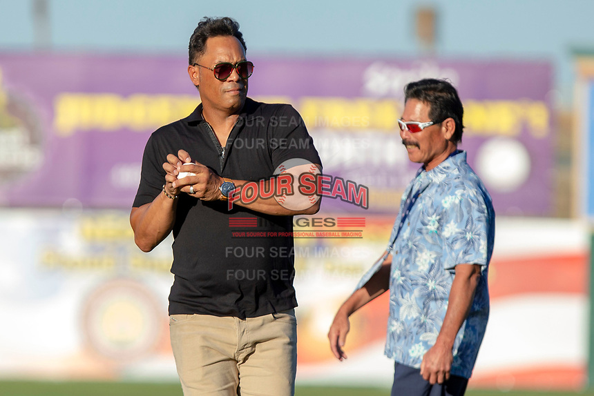 Roberto Alomar and fellow California League Hall of Fame inductee Lenn Sakata prepare to throw out the ceremonial first pitch prior to the 2018 California League All-Star Game at The Hangar on June 19, 2018 in Lancaster, California. The North All-Stars defeated the South All-Stars 8-1.  (Donn Parris/Four Seam Images)