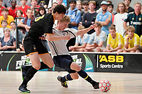 Ry McLead of Tauranga Boys College and George Willett of Wellington College battle for the ball during the NZ Secondary Schools Senior Boys Final between Wellington College and Tauranga Boys' College at ASB Sports Centre, Wellington on 26 March 2021.<br /> Copyright photo: Masanori Udagawa /  www.photosport.nz