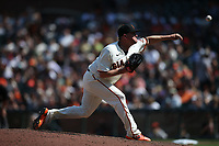 SAN FRANCISCO, CA - JULY 25: Jake McGee #17 of the San Francisco Giants pitches against the Pittsburgh Pirates during the game at Oracle Park on Sunday, July 25, 2021 in San Francisco, California. (Photo by Brad Mangin)