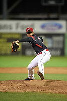 Batavia Muckdogs relief pitcher Jeremy Ovalle (31) delivers a pitch during a game against the West Virginia Black Bears on August 5, 2017 at Dwyer Stadium in Batavia, New York.  Batavia defeated West Virginia 3-2.  (Mike Janes/Four Seam Images)