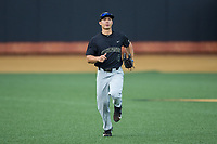 Wake Forest Demon Deacons center fielder Stuart Fairchild (4) jogs off the field between innings of the game against the West Virginia Mountaineers in Game Six of the Winston-Salem Regional in the 2017 College World Series at David F. Couch Ballpark on June 4, 2017 in Winston-Salem, North Carolina.  The Demon Deacons defeated the Mountaineers 12-8.  (Brian Westerholt/Four Seam Images)