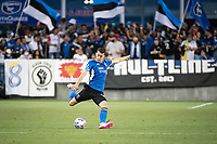 SAN JOSE, CA - AUGUST 13: Nathan Cardoso #13 of the San Jose Earthquakes passes the ball during a game between San Jose Earthquakes and Vancouver Whitecaps at PayPal Park on August 13, 2021 in San Jose, California.