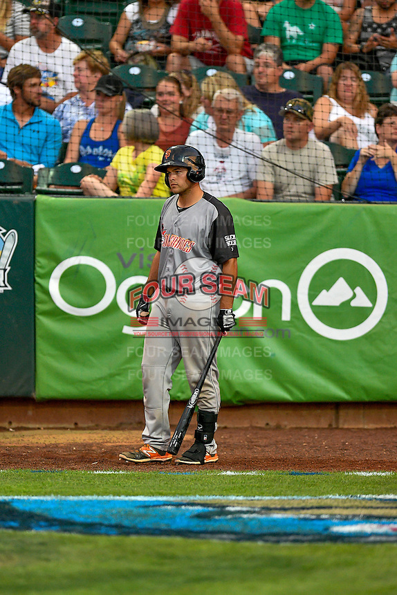 Northwest League All-Star John Riley (32) of the Salem-Keizer Volcanoes during the game against the Pioneer League All-Stars at the 2nd Annual Northwest League-Pioneer League All-Star Game at Lindquist Field on August 2, 2016 in Ogden, Utah. (Stephen Smith/Four Seam Images)