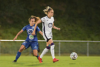 Tessa Wullaert (27) of Anderlecht and Jasmien Mathys (12) of AA Gent Ladies pictured during a female soccer game between RSC Anderlecht Dames and AA Gent Ladies  on the fourth matchday of the 2021 - 2022 season of Belgian Womens Super League , friday 10 th of September 2021 in Overijse , Belgium . PHOTO SPORTPIX | DIRK VUYLSTEKE