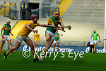 Brendan O'Leary, Kerry in action against Eoghan Campbell, Antrim during the Joe McDonagh Cup Final match between Kerry and Antrim at Croke Park in Dublin.