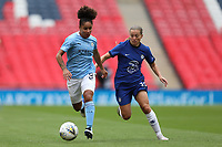 29th August 2020; Wembley Stadium, London, England; Community Shield Womens Final, Chelsea versus Manchester City; Demi Stokes of Manchester City Women under pressure from Fran Kirby of Chelsea Women