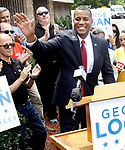 WATERBURY, CT. - 21 July 2021-072121SV05-Former Republican State Senator George Logan announced his entering the 5th District race in 2022 during a rally at Noujaim Tool Co. in Waterbury Wednesday.<br /> Steven Valenti Republican-American