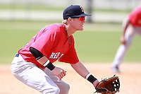 Boston Red Sox minor league third baseman Kolbrin Vitek (12) during a game vs. the Minnesota Twins in an Instructional League game at Lee County Sports Complex in Fort Myers, Florida;  October 2, 2010.  Vitek was taken in the first round, 20th overall, out of Ball State in the MLB Draft.  Photo By Mike Janes/Four Seam Images