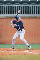 Anthony Bova (2) of the Akron Zips at bat against the Charlotte 49ers at Hayes Stadium on February 22, 2015 in Charlotte, North Carolina.  The Zips defeated the 49ers 5-4.  (Brian Westerholt/Four Seam Images)