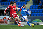 St Johnstone v Aberdeen…22.04.16  McDiarmid Park, Perth<br />Chris Millar drags his shot wide of the post<br />Picture by Graeme Hart.<br />Copyright Perthshire Picture Agency<br />Tel: 01738 623350  Mobile: 07990 594431