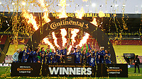 14th March 2021; Vicarage Road, Watford, Herts;   Team Chelsea celebrates their victory during the trophy ceremony after the FA Womens Continental Tyres League Cup final game between Bristol City and Chelsea at Vicarage Road Stadium in Watford.
