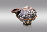 Minoan Kamares Ware beak spouted  jug with 2 handles and  polychrome decorations, Phaistos 1800-1650 BC; Heraklion Archaeological  Museum, grey background.<br /> <br /> This style of pottery is named afetr Kamares cave where this style of pottery was first found