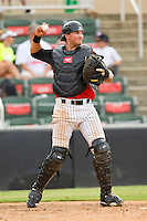 Kannapolis Intimidators catcher Michael Marjama (23) throws the ball back to his pitcher during the South Atlantic League game against the Rome Braves at CMC-Northeast Stadium on August 5, 2012 in Kannapolis, North Carolina.  The Intimidators defeated the Braves 9-1.  (Brian Westerholt/Four Seam Images)