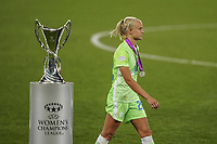 30th August 2020, San Sebastien, Spain;  Pernille Harder of VfL Wolfsburg with losers medal passes trophy after Lyon win the UEFA Womens Champions League football match Final between VfL Wolfsburg and Olympique Lyonnais 3-1